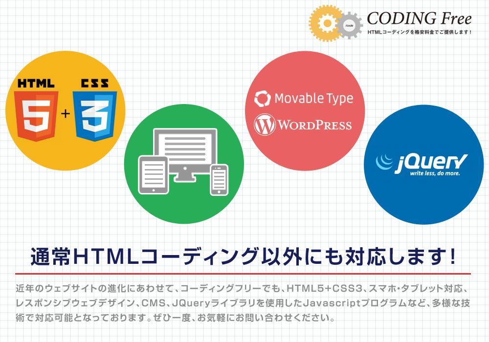 コーディングフリー 通常HTMLコーディング以外にも対応します!